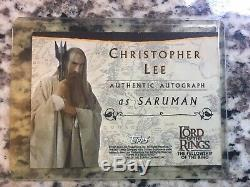 Christopher Lee Saruman Topps Authentic Autograph Card- Lord Of The Rings FotR