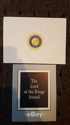 Franklin Mint The Lord Of The Rings Sword With Display Mount (Rare Edition)