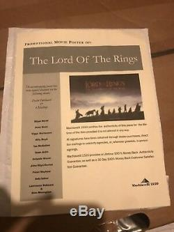 LORD OF THE RINGS FELLOWSHIP OF THE RING Autographed MOVIE POSTER RARE