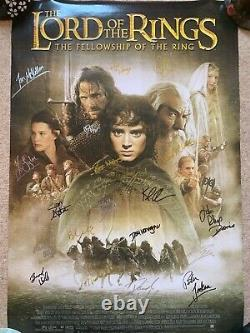 Lord of the Rings Fellowship of the Ring (signed poster 17 cast members) COA