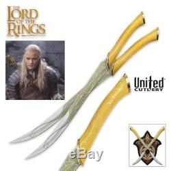 Lord of the Rings Legolas Greenleaf 22 Short Swords w Plaque United Cutlery COA