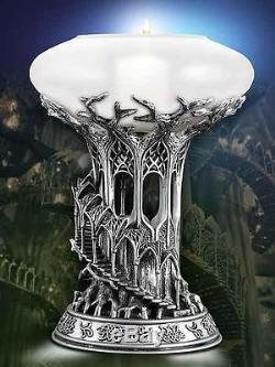 TOLKIEN LOTHLORIEN CANDLE LAMP LORD OF THE RINGS PEWTER & GLASS New In Box