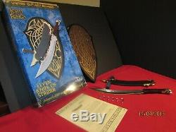 UNITED CUTLERY ELVEN KNIFE OF STRIDER LORD OF THE RINGS 2003 With LEATHER SCABBARD